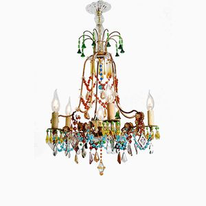 Colorful French Gilt Murano Crystal Glass Chandelier, 1940s