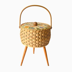 Vintage Tripod Rattan Sewing Box, 1960s