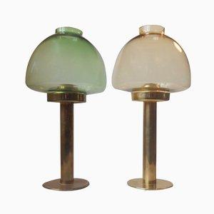 Schwedische Farbglas & Messing Kerzenständer von Hans-Agne Jakobsson für Markaryd, 1950er, 2er Set