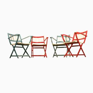 Vintage Italian Folding Armchairs, Set of 4