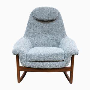 Danish Teak and Wool Rocking Chair, 1960s