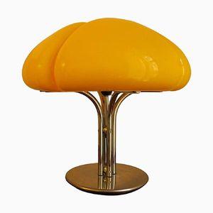 Gelbe Quadrifoglio Tischlampe von Gae Aulenti für Guzzini, 1970er