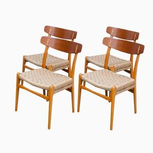 Danish CH23 Teak Dining Chairs by Hans J. Wegner for Carl Hansen & Søn, 1950s, Set of 4