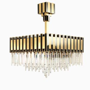 Large Black & Gold Chandelier from Lumica, 1970s