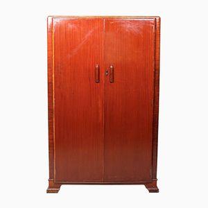 Vintage Art Deco Mahogany Double-Door Wardrobe, 1930s