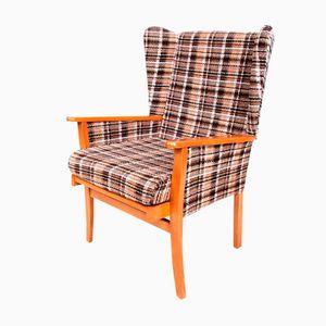Danish Checkered Wool Club Chair, 1970s