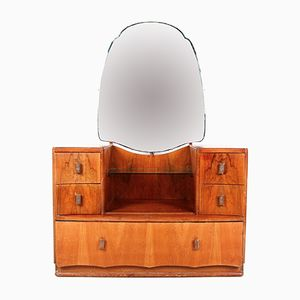 French Art Deco Walnut Dressing Table, 1930s