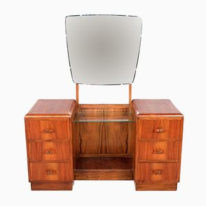 French Art Deco Twin Pedestal Walnut Dressing Table, 1930s