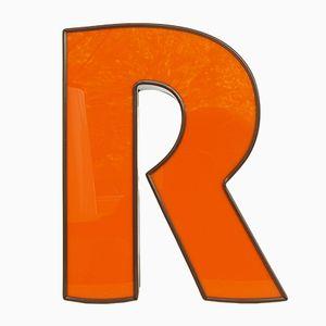 Vintage Orange & Brown Illuminated Letter R