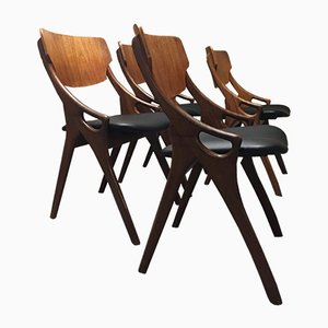 Danish Teak Dining Chairs by Arne Hovmand Olsen for Mogens Kold, 1950s, Set of 4