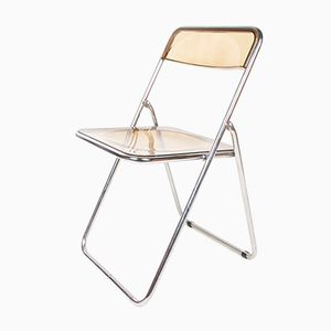 Vintage Danish Chrome & Smoked Perspex Folding Chair, 1970s