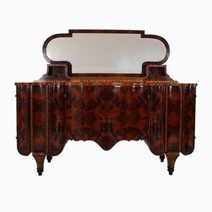Vintage Art Deco Burl Buffet with Mirror