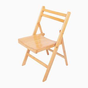 Danish Beech Folding Chair, 1970s