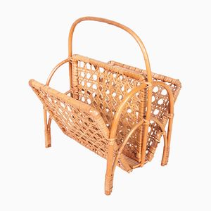 Vintage Danish Bamboo & Wicker Newspaper Stand
