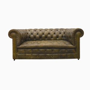 English Olive-Green Leather Chesterfield Two-Seater Sofa, 1960s