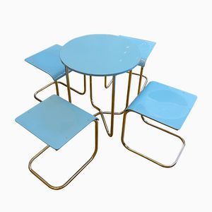 Set Table et Chaises en Acier Tubulaire Bleu Clair par Mart Stam and Hynek Gottwald, Set de 5