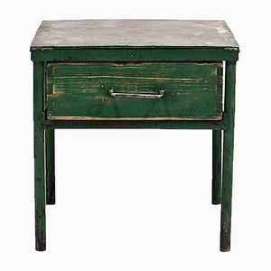 Vintage Green Industrial Side Table with Drawer