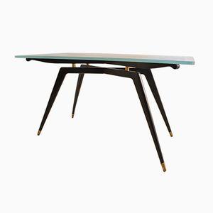 Italian Glass & Black Wood Coffee Table