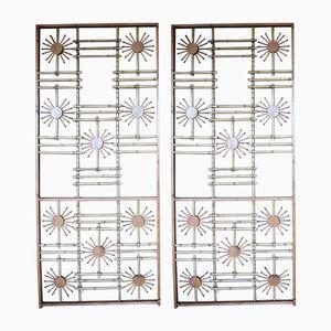 Holz & Bambus Wandschirme, 1950er, 2er Set