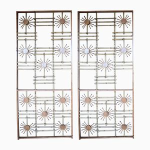 Wood & Bamboo Screens, 1950s, Set of 2