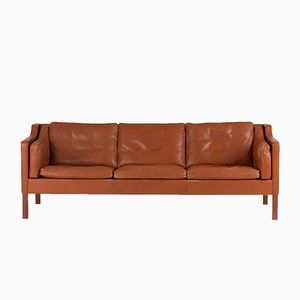 Brown Leather Sofa by Børge Mogensen for Fredericia, 1960s