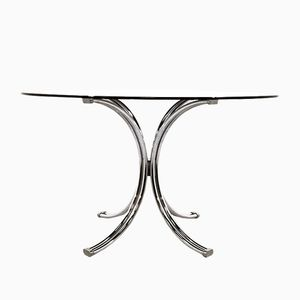 Smoked Glass Round Dining Table, 1970