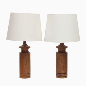 Swedish Teak Table Lamps, 1960s, Set of 2