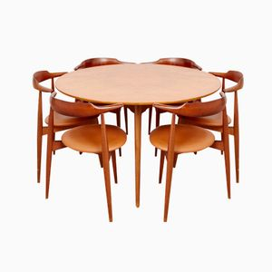 Mid-Century Heart Dining Set by Hans J. Wegner for Fritz Hansen