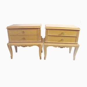 Solid Wood Bedside Cabinets, 1960s, Set of 2
