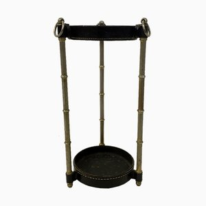 Vintage Leather & Metal Umbrella Stand by Jacques Adnet