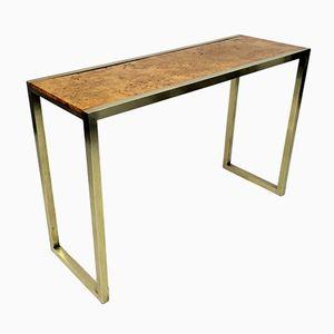 Italian Brass & Burl Console Table