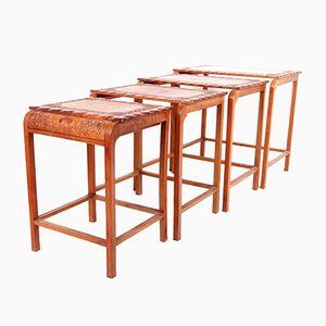 Tables Gigognes Vintage Sculptées, Moyen Orient, Set de 4