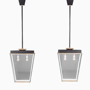 Große Italienische Deckenlampen, 1930er, 2er Set