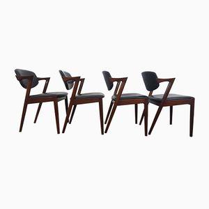 Chaises de Salon Modèle 42 en Palissandre par Kai Kristiansen pour Schou Andersen, Danemark, 1960s, Set de 4