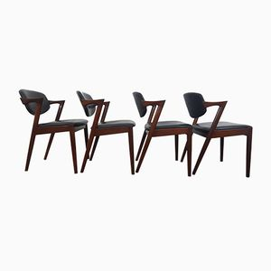 Danish Model 42 Rosewood Dining Chairs by Kai Kristiansen for Schou Andersen, 1960s, Set of 4