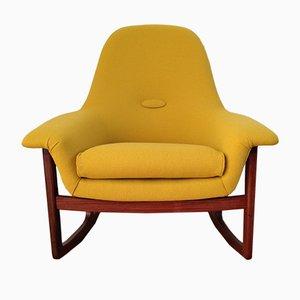 Chaise à Bascule Jaune Moutarde Mid-Century en Teck, Danemark