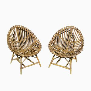 Egg Rattan Chairs by Bonacina, 1950s, Set of 2