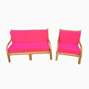 Rosa Rattan Sofa & Sessel Set, 1970er