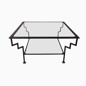 Vintage Glass & Metal Coffee Table