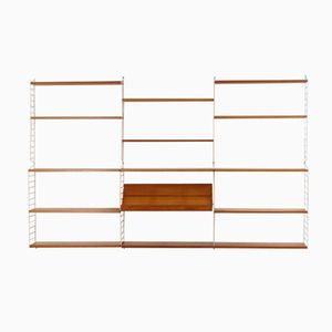Pine Wall Unit by Nisse Strinning for String Design AB, 1960s