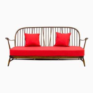 Rotes Windsor Drei-Sitzer Sofa von Ercol, 1950er