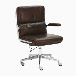 Dark Brown Faux Leather Office Chair, 1970s