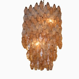 Italian Large Hexagonal Poliedri Ceiling Light by Carlo Scarpa for Venini