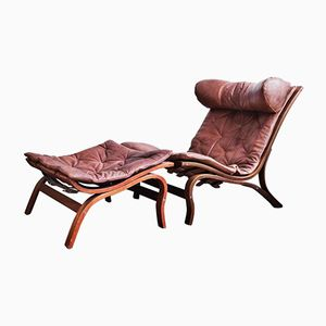 Vintage Skandi Lounge Chair with Ottoman by Arne Norell for Arne Norell AB