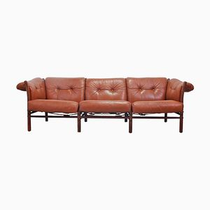 Vintage Swedish Ilona Leather Sofa by Arne Norell for Aneby Möbler