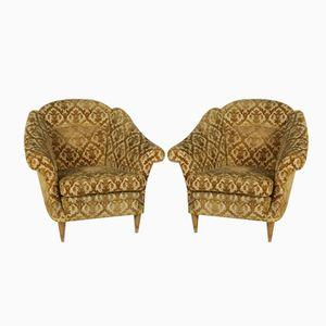 Italienische Mid-Century Vintage Samt Armlehnstühle, 2er Set