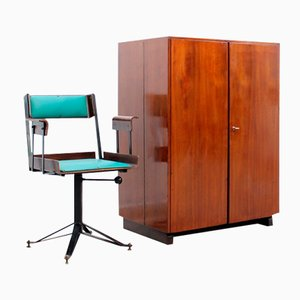 Mid-Century Compact Post Office Desk & Swivel Chair