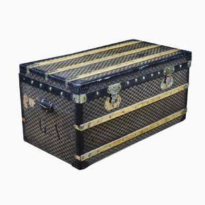 French Damier Canvas Steamer Trunk from Mermilliod, 1930s