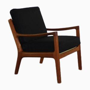 Lounge Stuhl aus Teak & schwarzer Wolle von Ole Wanscher für Cado, 1960er