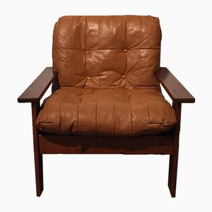 French Leather Lounge Chair, 1970s